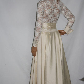 Lace Ivory Elegant Long Sleeve Blouse Wedding Formal Cocktail Party