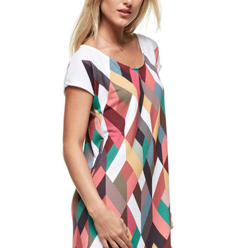 Kaleidoscope S/S Tunic Dress - Brown Multi