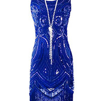 KAYAMIYA Women's 1920S Sequined Beaded Embellishment Fringe Gatsby Flapper Dress