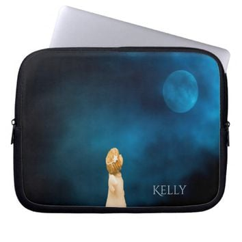 Girly angel at night watching a full moon add name laptop computer sleeves