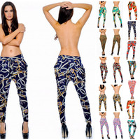 HAREM LEGGINGS ITALIAN STATUS CHAIN SCARF PRINTS BELTED SILKY STRETCHY 12 COLORS