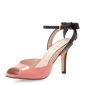 Ninette Mixed-Media Slingback Sandal, Salmon/Black