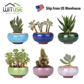 WITUSE 6pcs For Home Desk Mini Glazed Ceramic Succulent Planter Flower Bonsai Pots Plant Box Flowerpots Plants Vase Flower Pots