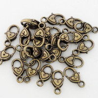 Bronze  Heart Shape Lobster Clasps/ (5) Pieces 17mmx9mm