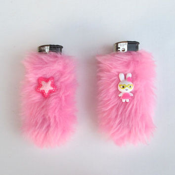 Pink Pastel Kawaii Fuzzy Lighter Cases BFF Set, Best Friends, Bestfriends, Pale Grunge Kawaii, Pastel Goth, Sweet Lolita, Faux Fur