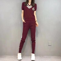 """Gucci"" Women Casual Fashion Little Bee Multicolor Stripe V-Neck Short Sleeve Trousers Set Two-Piece Sportswear"