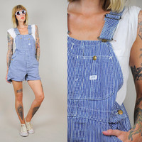 LEE SANFORIZED 70's denim SHORTALLS jean Conductor Striped Overalls dungarees Bibs Workwear