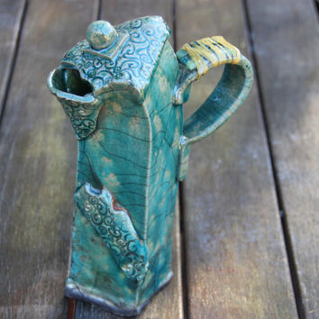 Whimsical Raku Ceramic Teapot