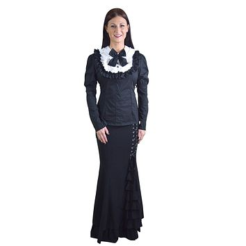 Gothic Lolita Black & White Ruffle Long Sleeves Blouse Top