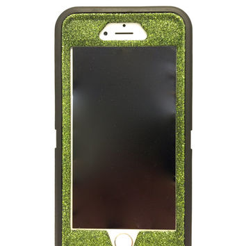 iPhone 6 (4.7 inch)Glitter OtterBox Defender Series Case / Sparkly Bling Custom Case black / green.