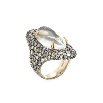 Alexis Bittar Fine Women's Quartz, Light Green Sapphire, & Grey Diamond Shield Ring