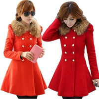 New women's woolen winter coat Korean Slim and long sections woolen double-breasted wool collar sleeve coat red clothes = 1956658244