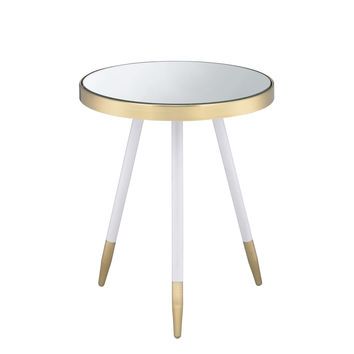 ACME Mazon End Table in Mirror, Antique Brass and White