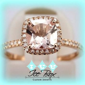 Morganite Engagement Ring Cushion Cut in Diamond Halo setting