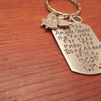 Personalized aluminum dog tag key chain personalized/ guardian angel.