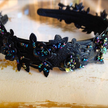 Black and indigo sequin beaded headband on a black ribbon satin headband.