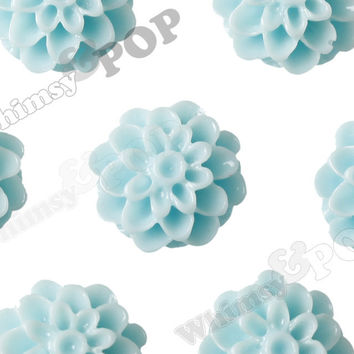 AQUA BLUE 13mm Dahlia Chrysanthemum Flower Cabochons