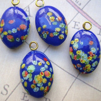 Vintage glass Japanese millifiore oval drops cobalt blue floral designs (4)