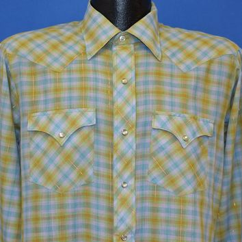 60s Green and Blue Plaid Western Shirt Men's Medium