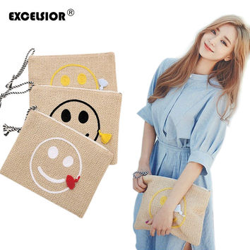 EXCELSIOR 2017 Smile Face Straw Beach Handbags Women Weave Clutch Envelop Tassel Bags Ladies Embroidery Messenger Bag Clutch