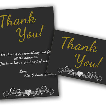Chalk Gold 50th Anniversary Party Thank You Cards - Wedding Anniversary Thank you Card - Vow Renewal Favor - Golden 50th Party Favor Tag