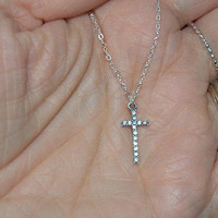 sterling silver cross necklace, CZ cross necklace, religious jewelry, christian jewelry, silver cross necklace