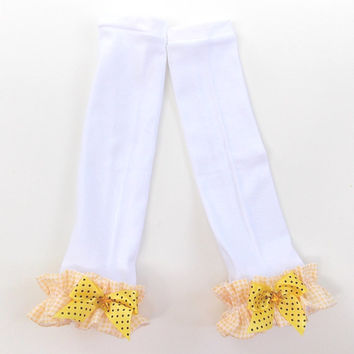 Baby girls white leg warmers with a yellow ruffle and yellow bow,  girls leg warmers, Holiday leg warmers