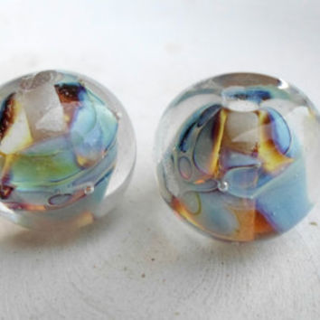 Glass Lampwork Beads, Handmade Glass Beads, Glass Lampwork Bead Pair, Handmade Glass Jewelry Supplies for Glass Lampwork Jewelry