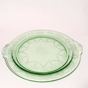 Green Depression Glass Cake Platter, Anchor Hocking Cameo Ballerina Handled Serving Platter, Green Cameo Plate
