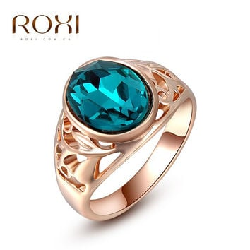 ROXI Top Brand Christams Gift Classic Genuine Austrian Crystals Sample Sales Rose Gold  Plated Blue Stone Ring Jewelry Party
