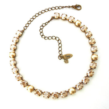 GOLDEN NUGGET 8mm Swarovski crystal necklace, Crystal Golden Shadow and pearl, shiny bronze chain