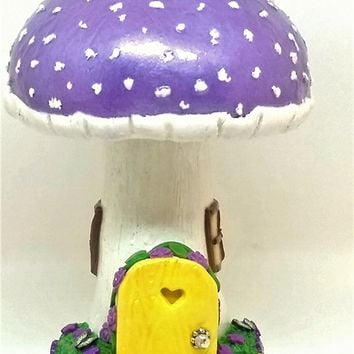 Fairy garden miniature mushroom house. Purple.