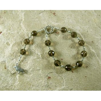 Odin (Woden) Pocket Prayer Beads in Smoky Quartz: Norse God of Battle, Magic, Runes, Wisdom