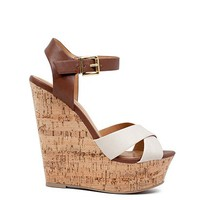 Angel Baby 55 Beige and Brown Ankle Strap Cork Platform Wedges