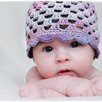 Crochet Baby Girl Summer Hat - grey, pink, purple