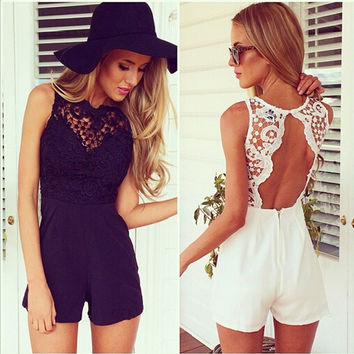 Lace Backless Splicing Bodycon Short Jumpsuit