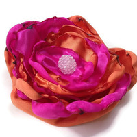Orange and pink flower accessory