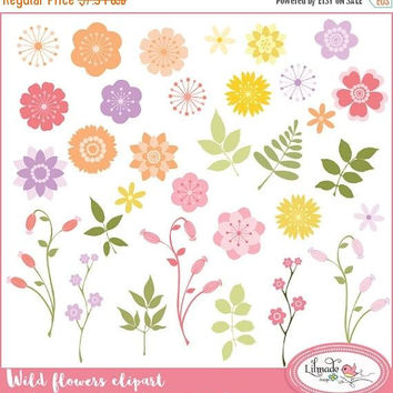 50%OFF Floral clipart, flower clipart, botanical clipart, wild flower clipart, vector floral clipart for commercial use, P156