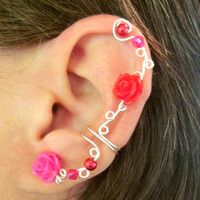 "Non Pierced Ear Cuff  ""Roses and Berries "" Cartilage Conch Cuff Silver tone Homecoming"