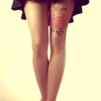 Free Shipping -Red Flower Tattoo Tights - Made to order :)