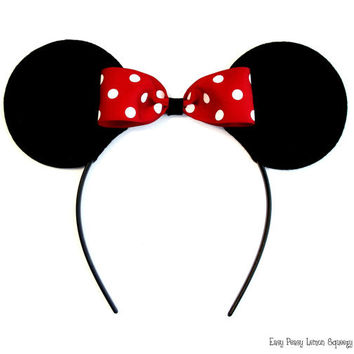 Deluxe Minnie Mouse Ear Headbands by EasyPeasyLemon on Etsy