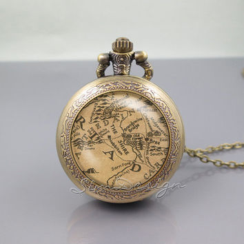 Lord of the Rings Pocket Watch Locket Necklace,Lord of the Rings Middle Earth Map,vintage pendant Pocket Watch Locket Necklace