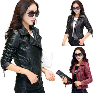 Hot New 2016 Women Faux Leather Jackets jaqueta couro Winter Coat veste en cuir femme Black Red Biker Motorcycle Jacket Cheap Z2