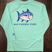 Southern Tide - Youth LS Camo Skipjack Performance Tee - Offshore Green