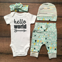 Newborn Baby Gender Neutral coming home outfit Tiny Mountain theme going home set hello world baby shower gift coming home from the hospital