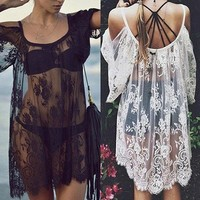 ZL-Women Sexy Boho Off Shoulder Floral Lace Hollow Top Cover Up Beach Dress Braw