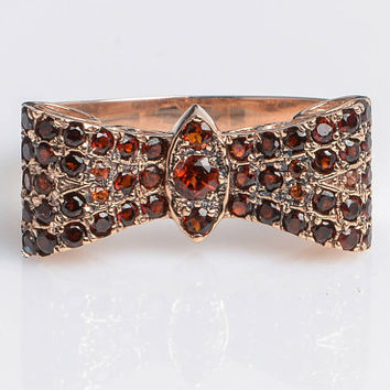 Butterfly ring with Garnet in 14K Rose Gold // Vintage inspired HandMade Kisufim Jewelry signed by Ari Kasten