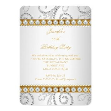 "Elegant Gold White Diamond Pearl Birthday Party 5"" X 7"" Invitation Card"