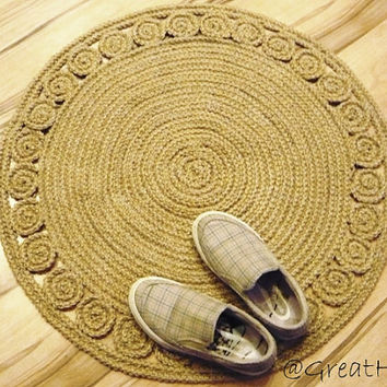 "28"" Unique decorative jute rug round Rag Rug / Braided style"