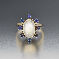 Vintage Silver Sapphire Halo and Moonstone Ring